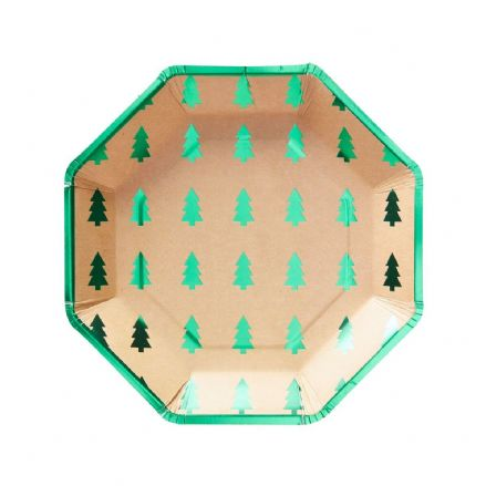 Green Tree Christmas Paper Party Plates
